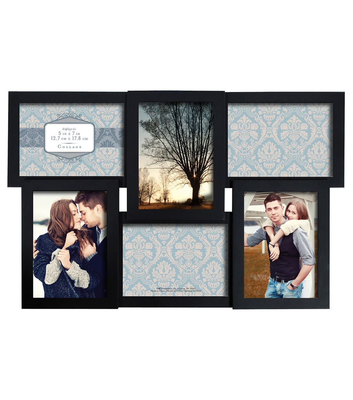 Collage Wall Frame 6 5X7 Openings-Dimensional Black