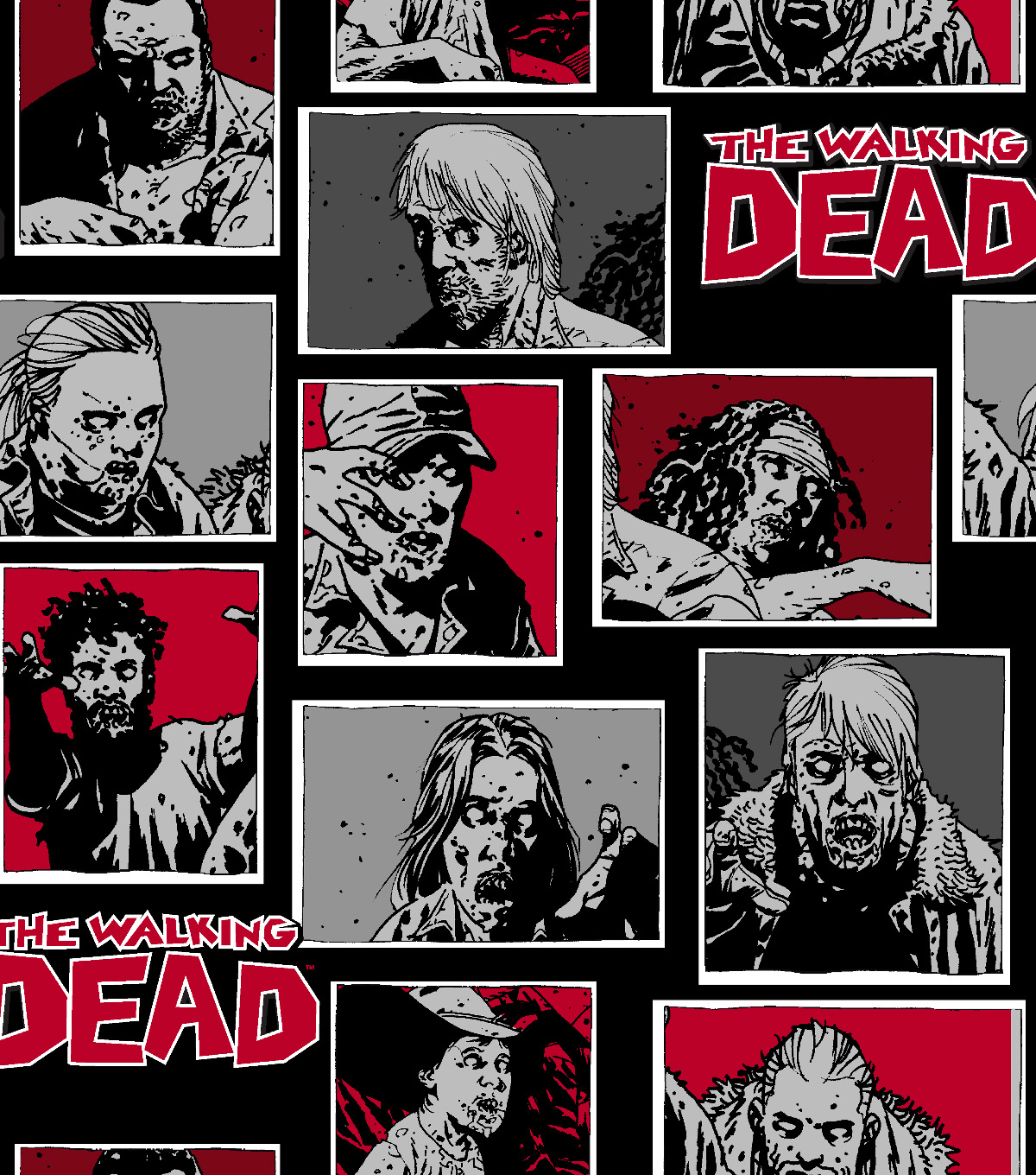 Walking Dead Cotton Fabric 43\u0022-Zombie Characters