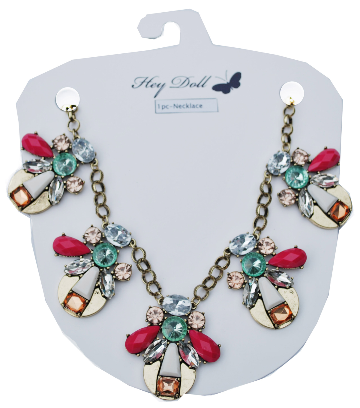 Hey Doll Casted Stone Statement Necklace