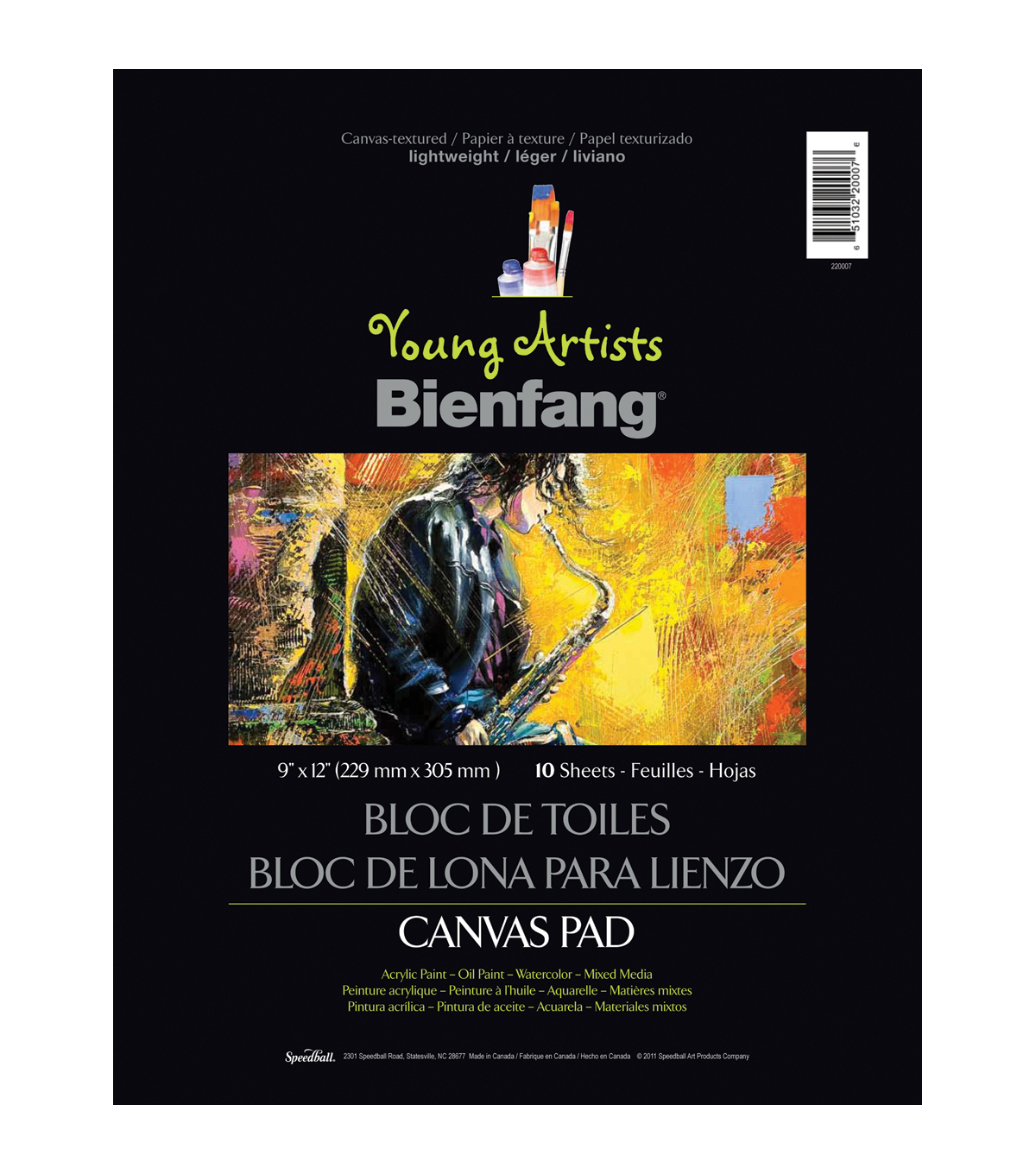 Young Artist Bienfang Canvasette Pad 9\u0022X12\u0022 10 Sheets-Light Weight