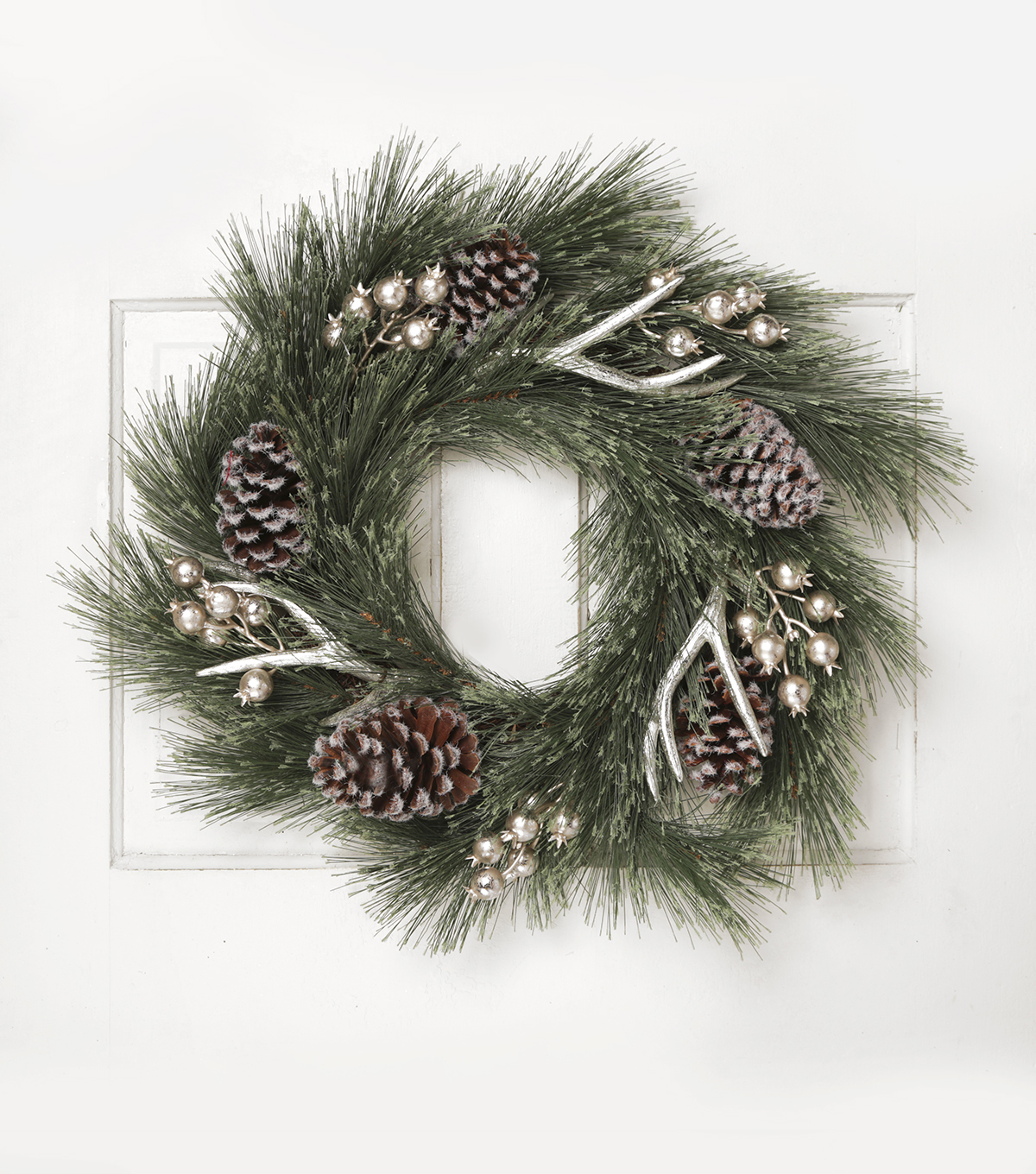 Blooming Holiday 24'' Antler Wreath-Silver