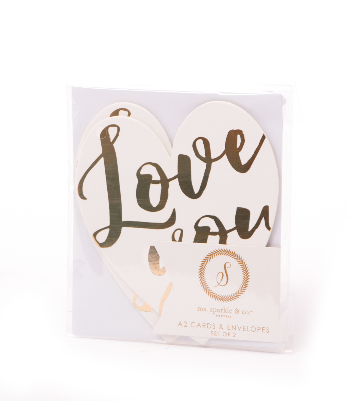 Ms. Sparkle & Co. Pack of 2 A2 Heart Shaped Cards-Love