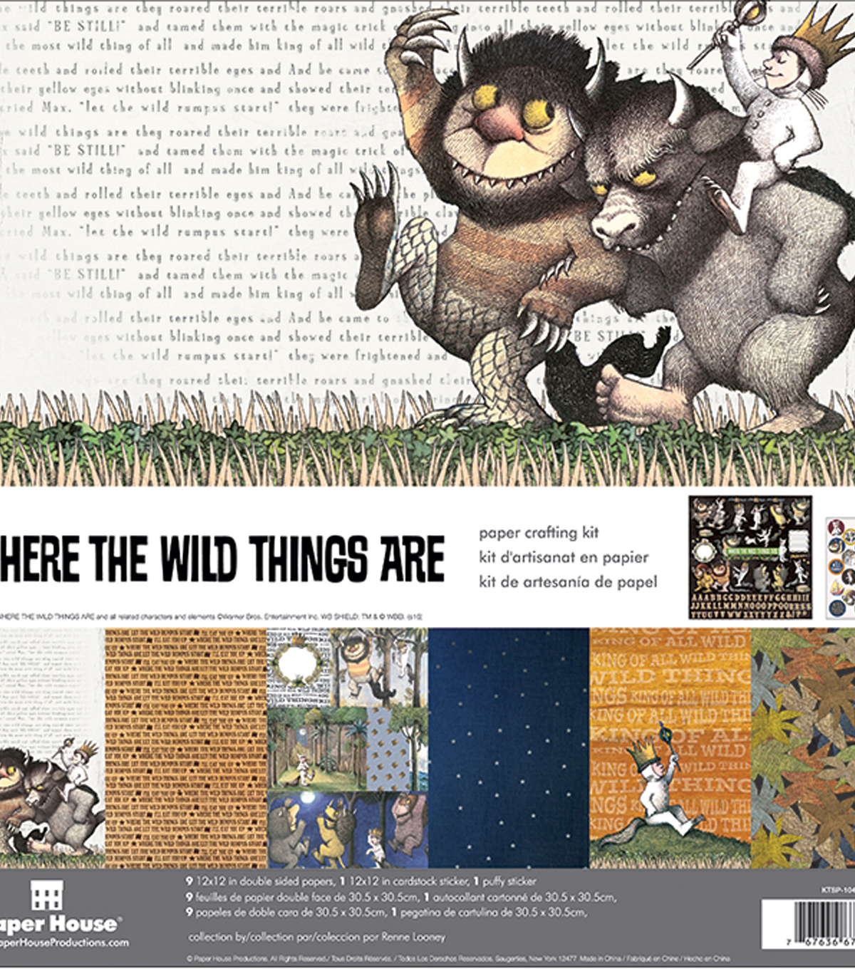 "Paper House Paper Crafting Kit 12""X12""-Where The Wild Things Are"