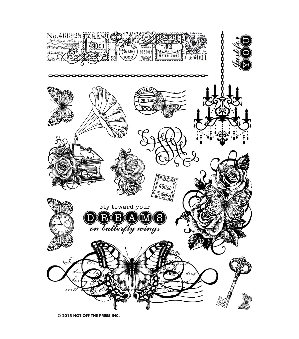 "Hot Off The Press Acrylic Stamps 6""X8"" Sheet-On Butterfly Wings"