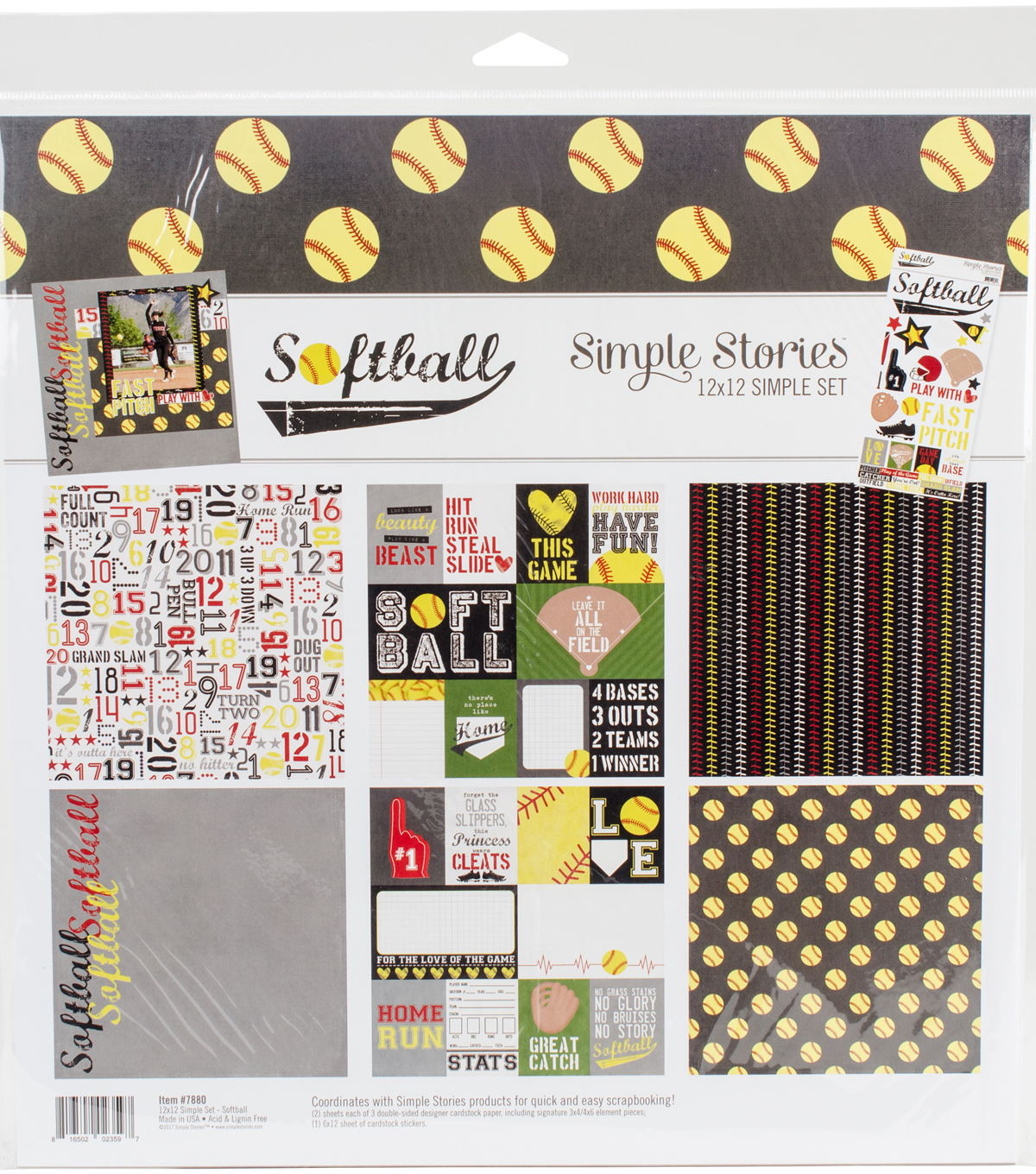 "Simple Stories Simple Sets Collection Kit 12""X12""-Softball"