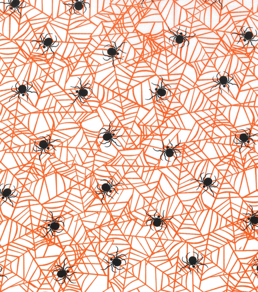 Holiday Showcase™ Halloween Cotton Fabric 43\u0027\u0027-Spider Web on White