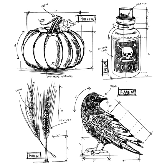 Stampers Anonymous Cling Rubber Stamp Set Halloween Blueprints #2