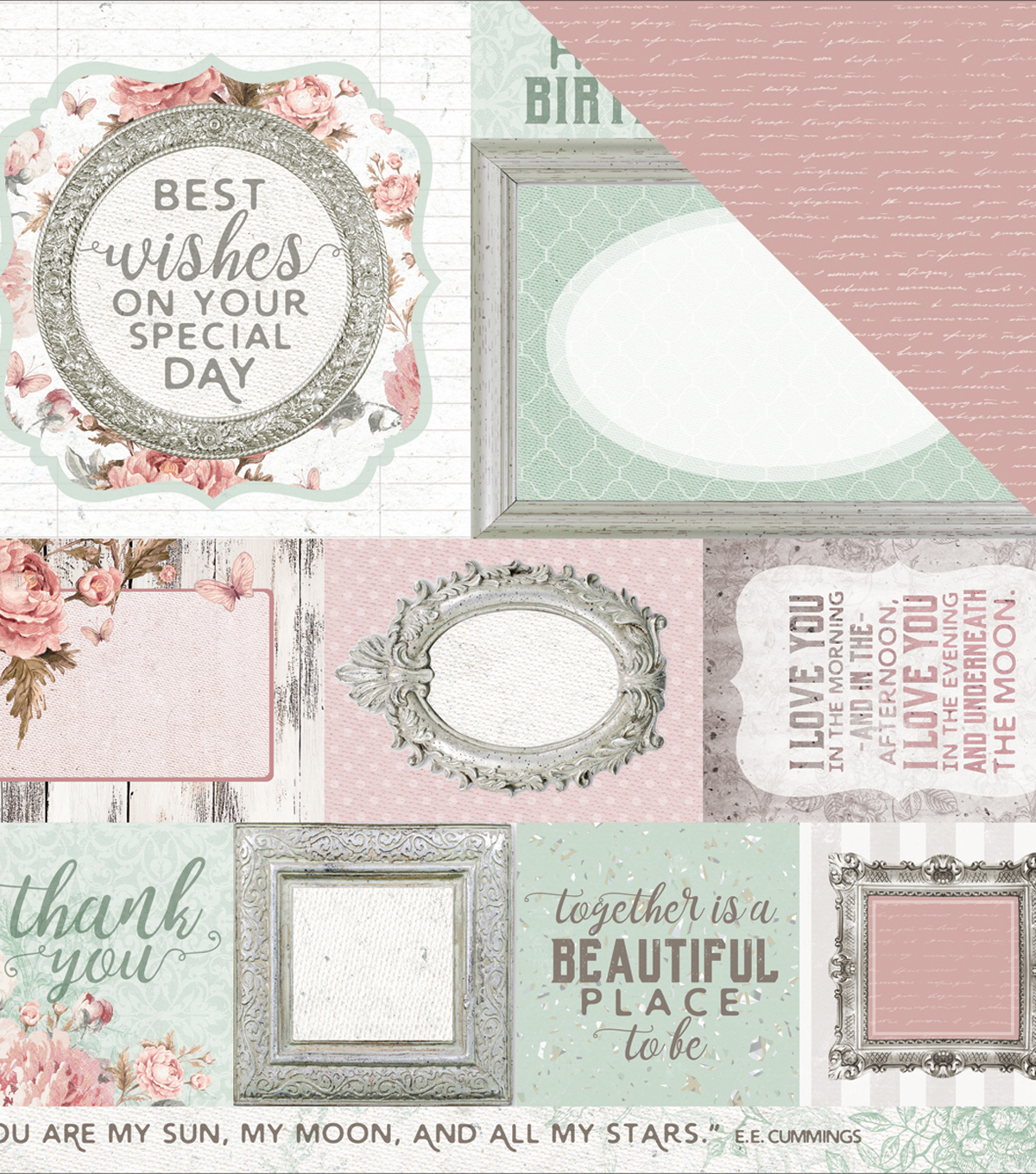 "Sage & Grace Double-Sided Cardstock 12""X12""-Thoughts"