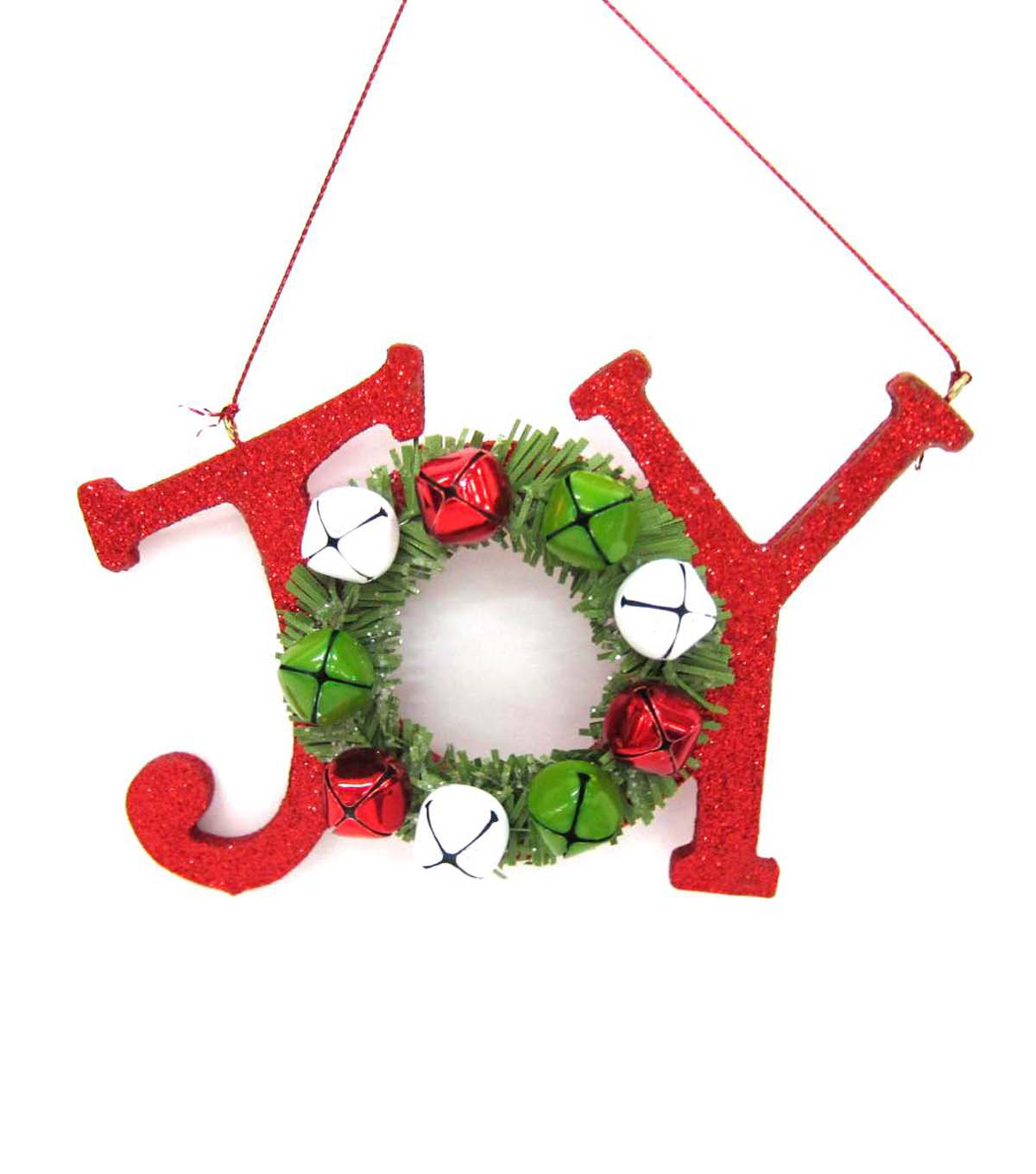 Maker\u0027s Holiday Red Glitter Joy Ornament