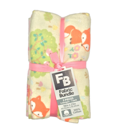 Fat Quarter Bundle Cotton Flannel Fabric 18''-Floral & Foxes