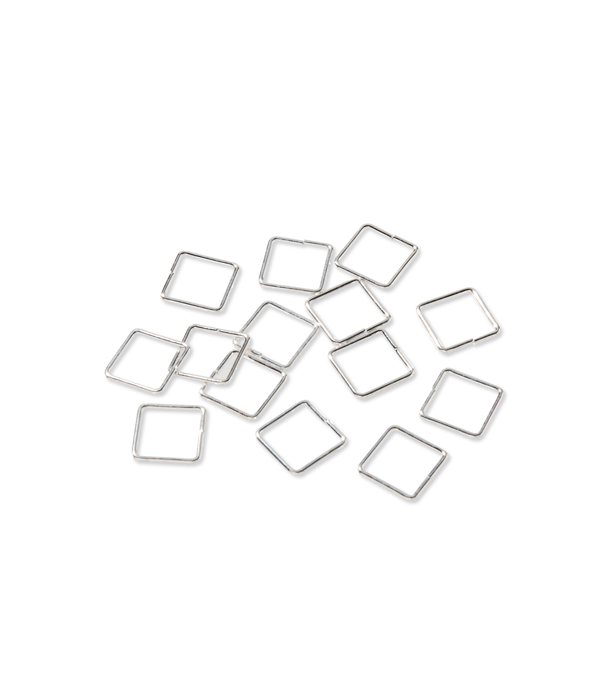 9mm Square Jump Rings for Jewelry Making, Bright Silver