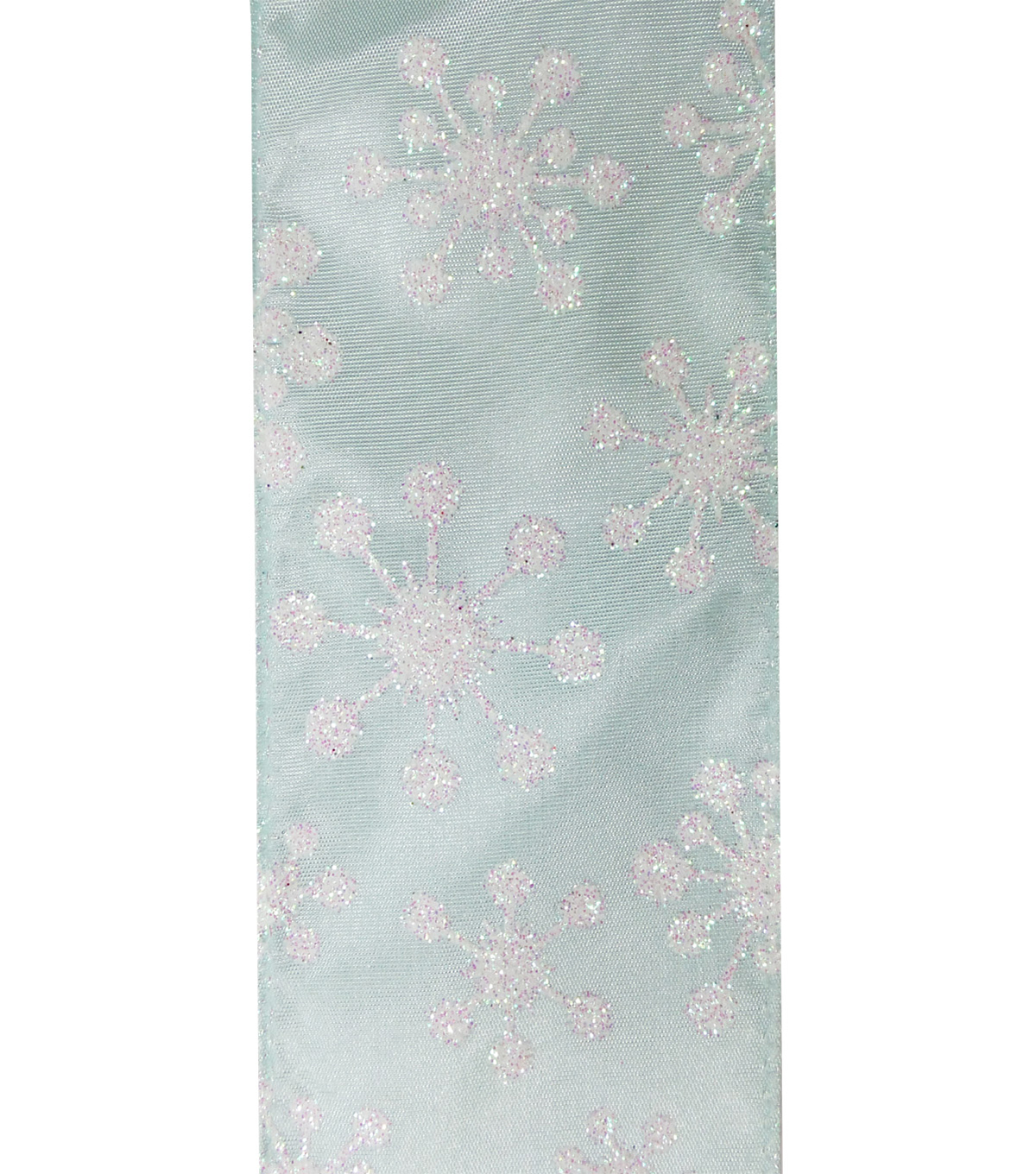 Maker\u0027s Holiday Christmas Ribbon 2.5\u0027\u0027X25\u0027-White Snowflake on Blue