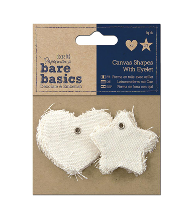 Papermania Bare Basics Star & Heart Canvas Shapes