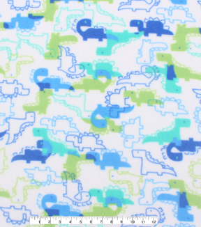 Anti-Pill Fleece Fabric 59\u0022-Block Dinosaurs