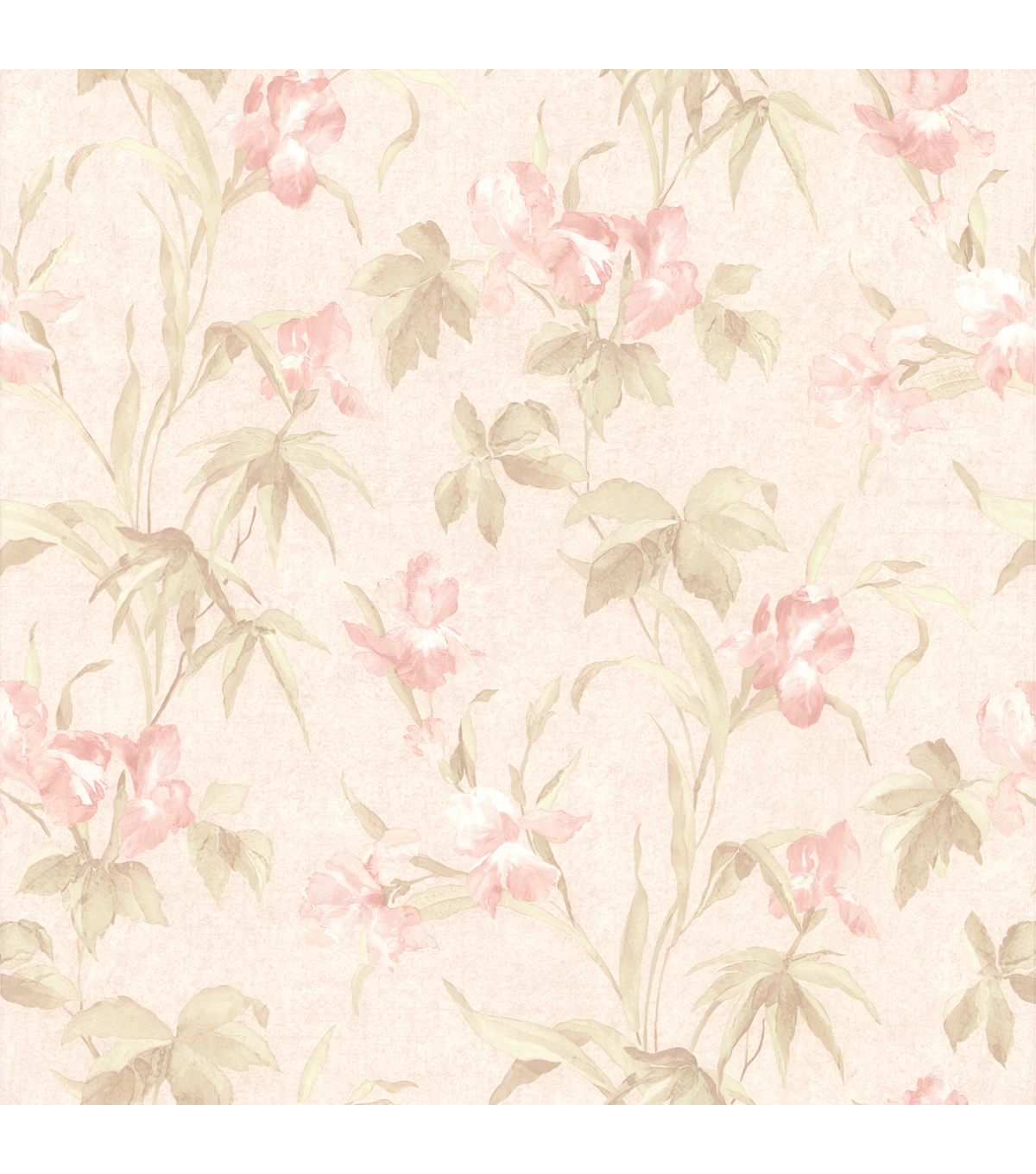 Yvonne Pink Satin Iris Wallpaper