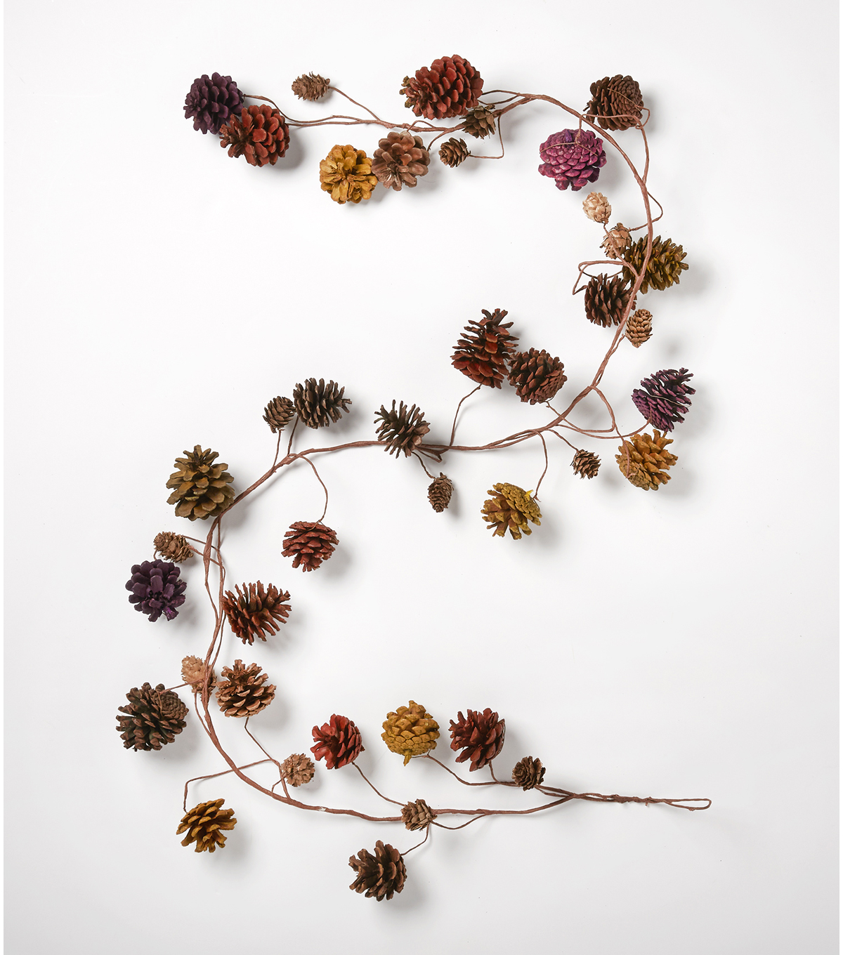 Blooming Autumn 64'' Pinecone Garland-Multicolor