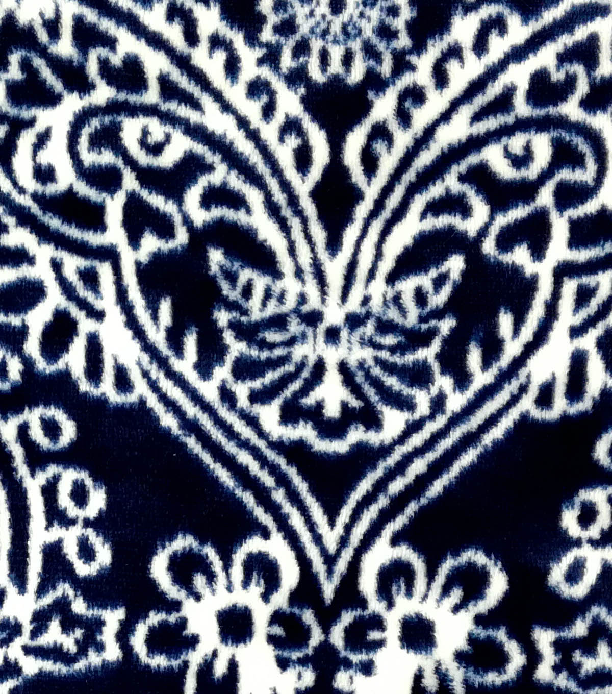Sew Lush Fleece Fabric 57\u0022-Navy Damask