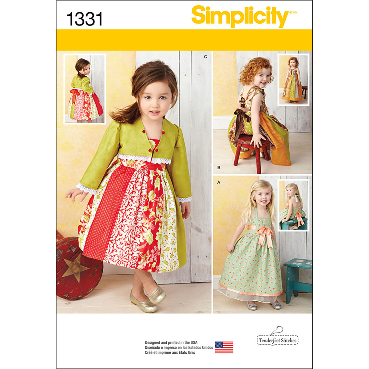 Simplicity Pattern 1331A 1/2-1-2-3--Toddlers Dresses