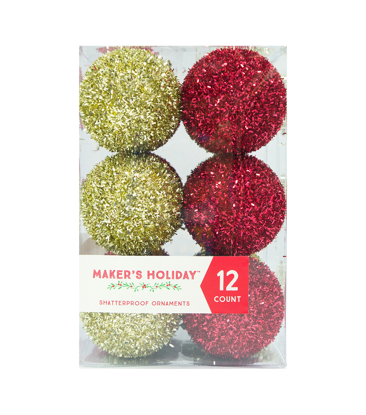 Maker's Holiday Pack of 12 Fuzzy Ornaments-Red Gold