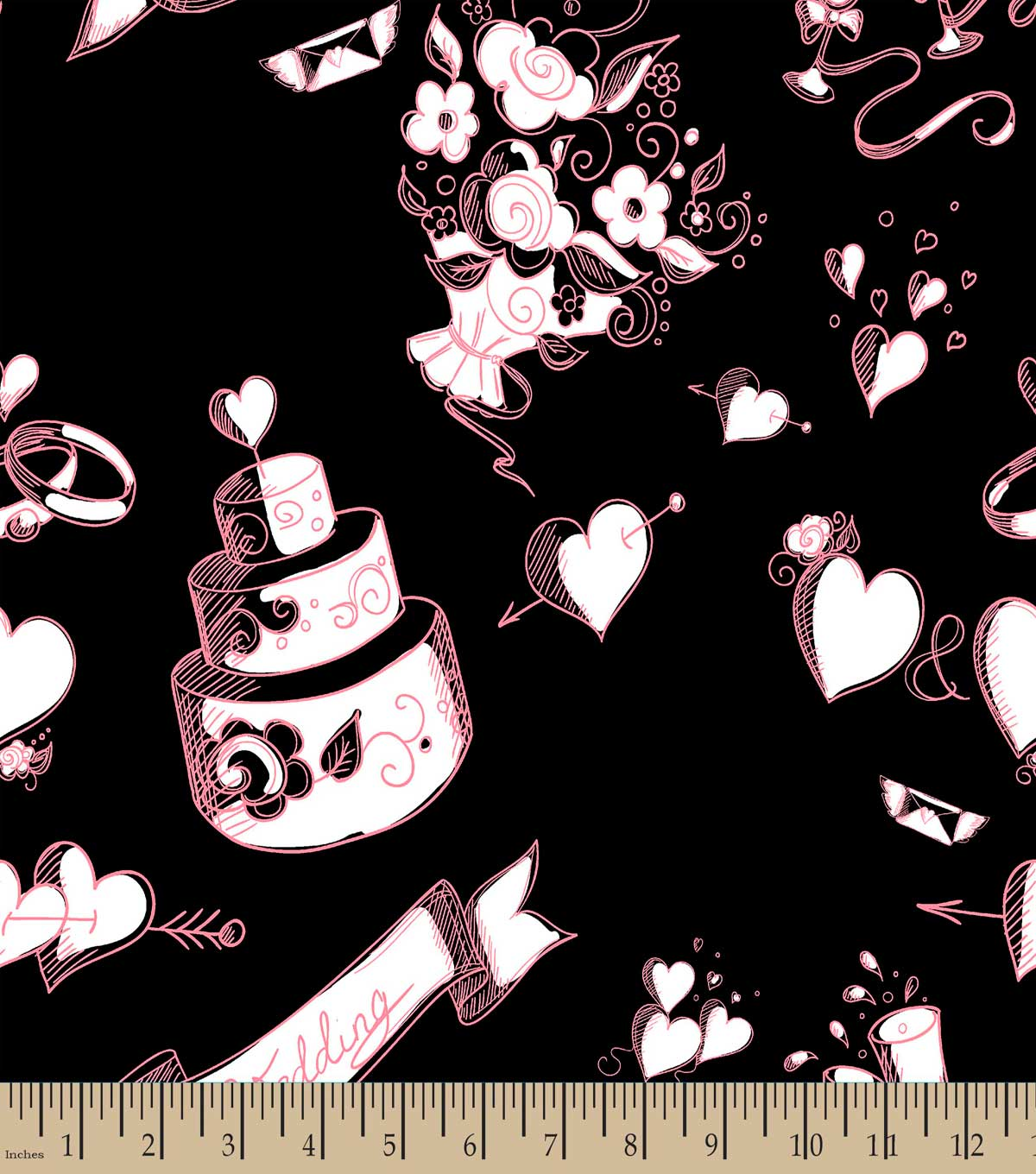 Chalkboard Wedding Print Fabric