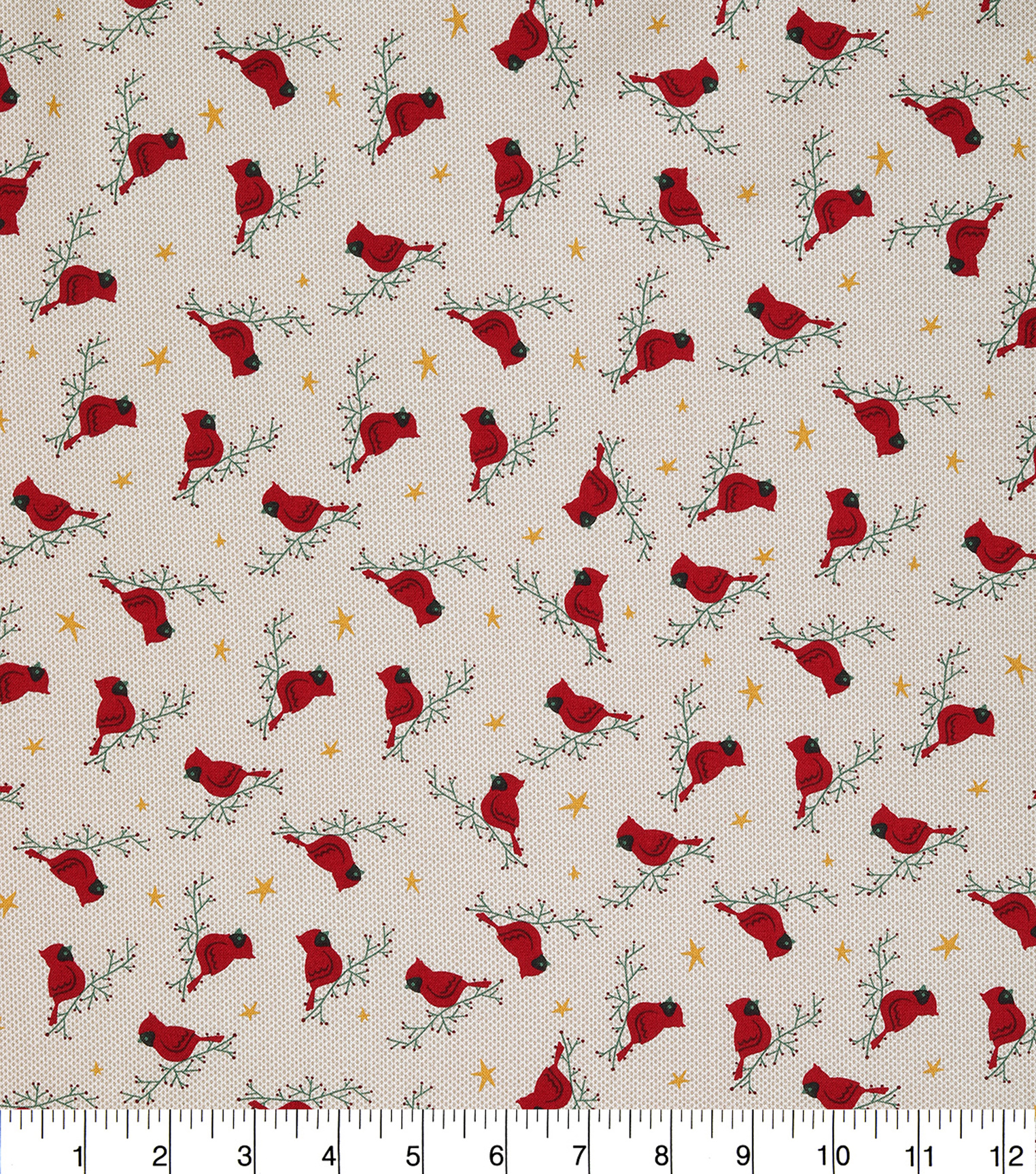 Christmas Cotton Fabric 43\u0022-Cardinals On Branches