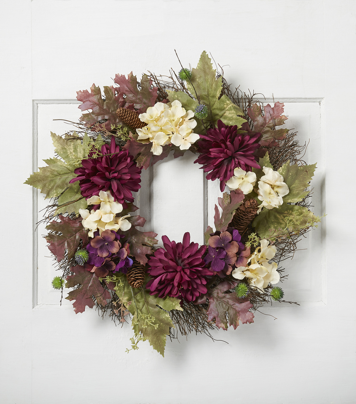 Blooming Autumn 22'' Mum, Hydrangea & Leaf Wreath-Purple & Cream