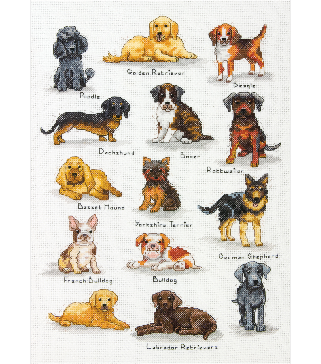 Dog Sampler Counted Cross Stitch Kit-10\u0022X14\u0022 14 Count