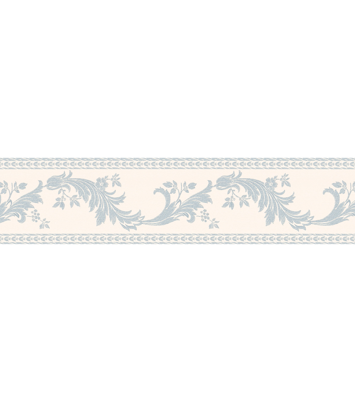 Scroll Silhouette Wallpaper Border, Blue Sample