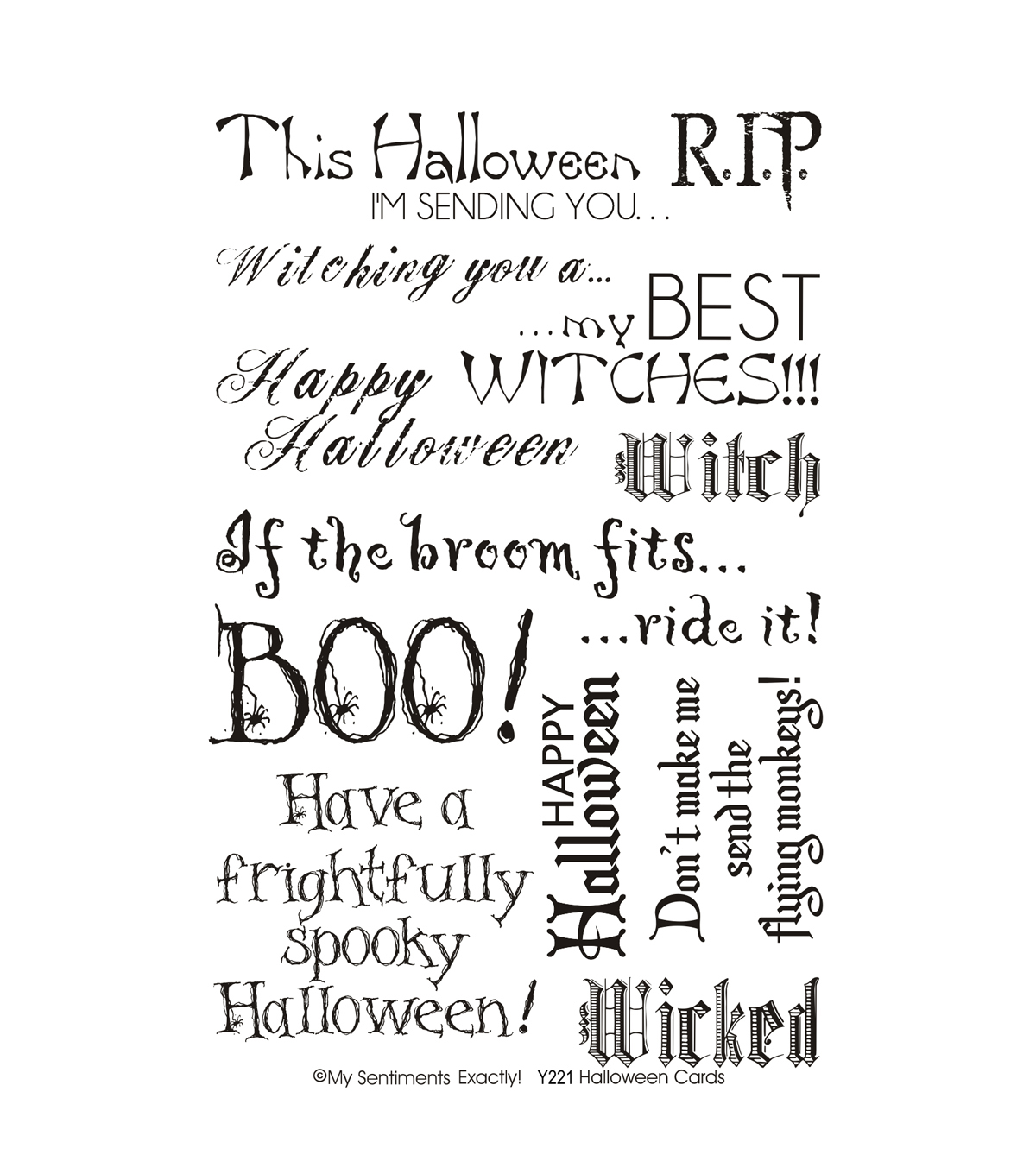 My Sentiments Exactly Clear Stamps 4\u0022X6\u0022 Sheet-Halloween