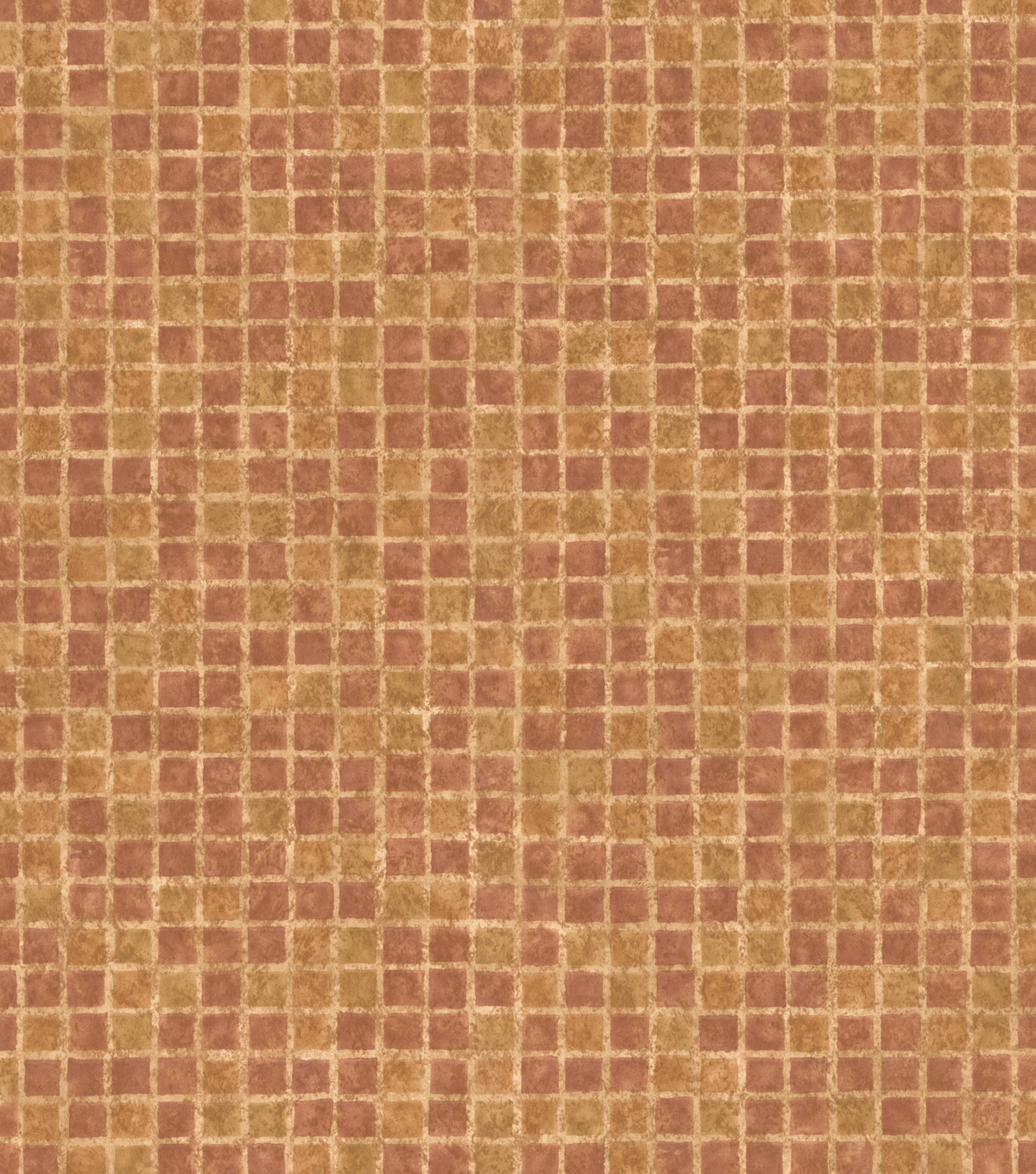 Orange Mosaic Tile Wallcovering