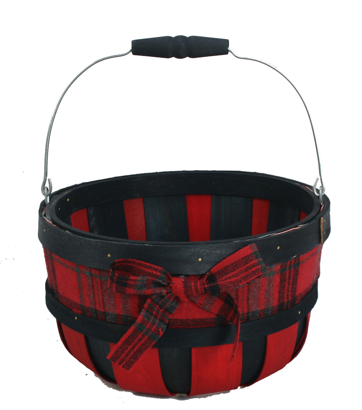 Maker\u0027s Holiday Medium Round Basket-Red & Black