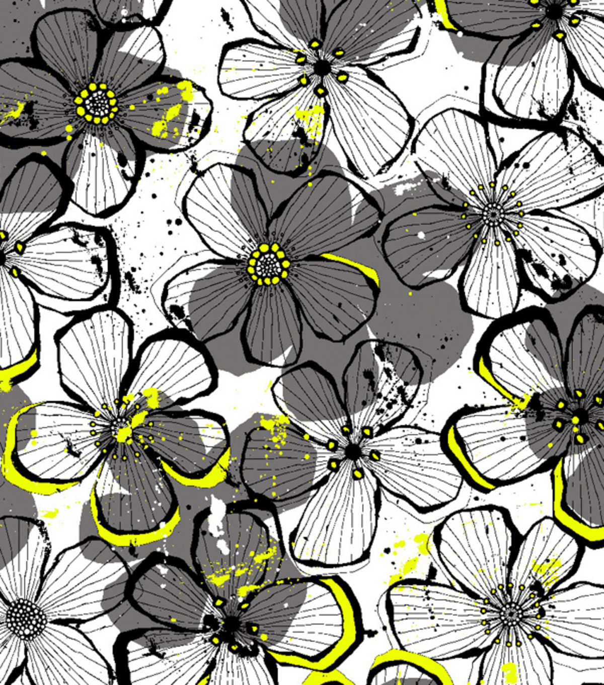 Easy Wash & Care Fabric- Floral Grey & Yellow