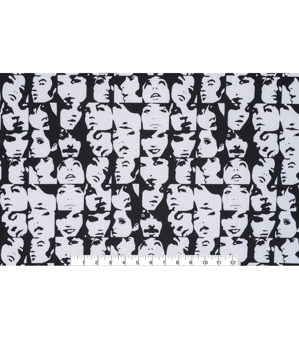 Novelty Cotton Fabric 45\u0022-Black & White In Crowd
