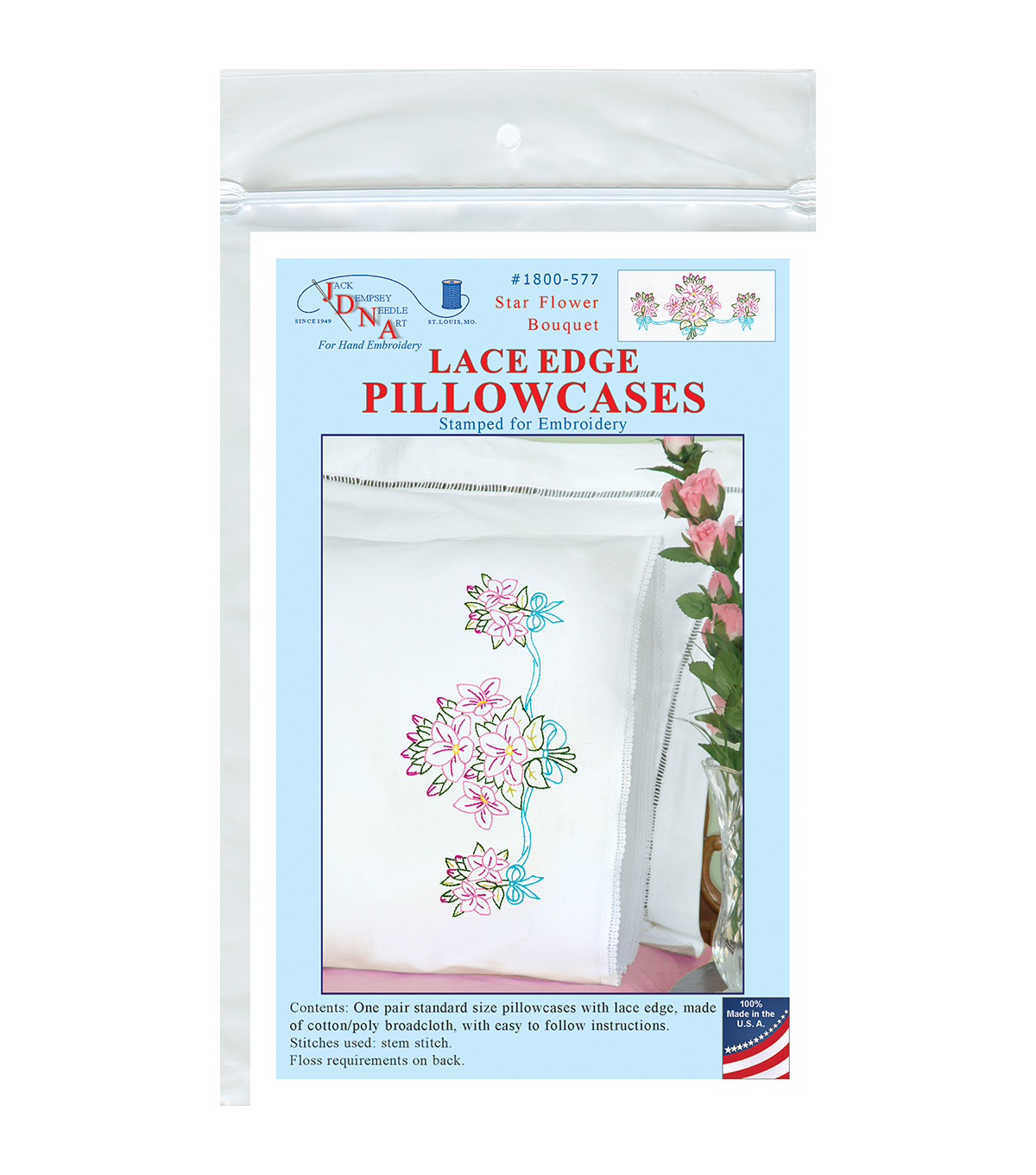 Jack Dempsey Star Flower Bouquet Stamped Pillowcases White Lace Edge
