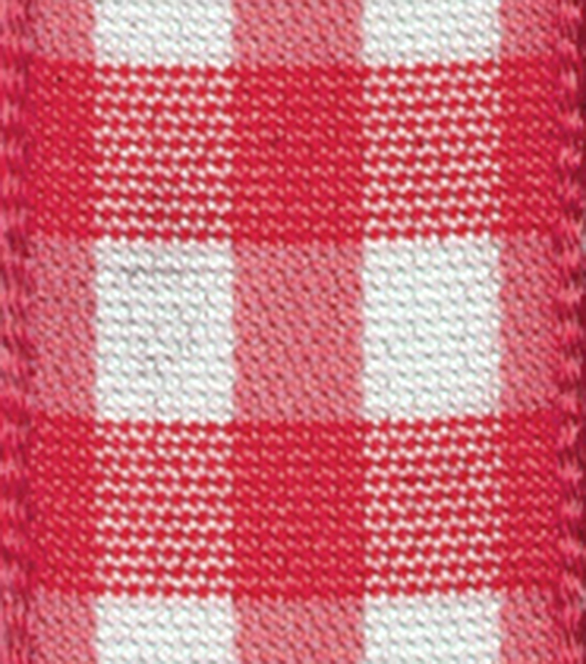 "Offray 5/8""x9' Taffeta Gingham Check and Plaid Woven Ribbon-Red"
