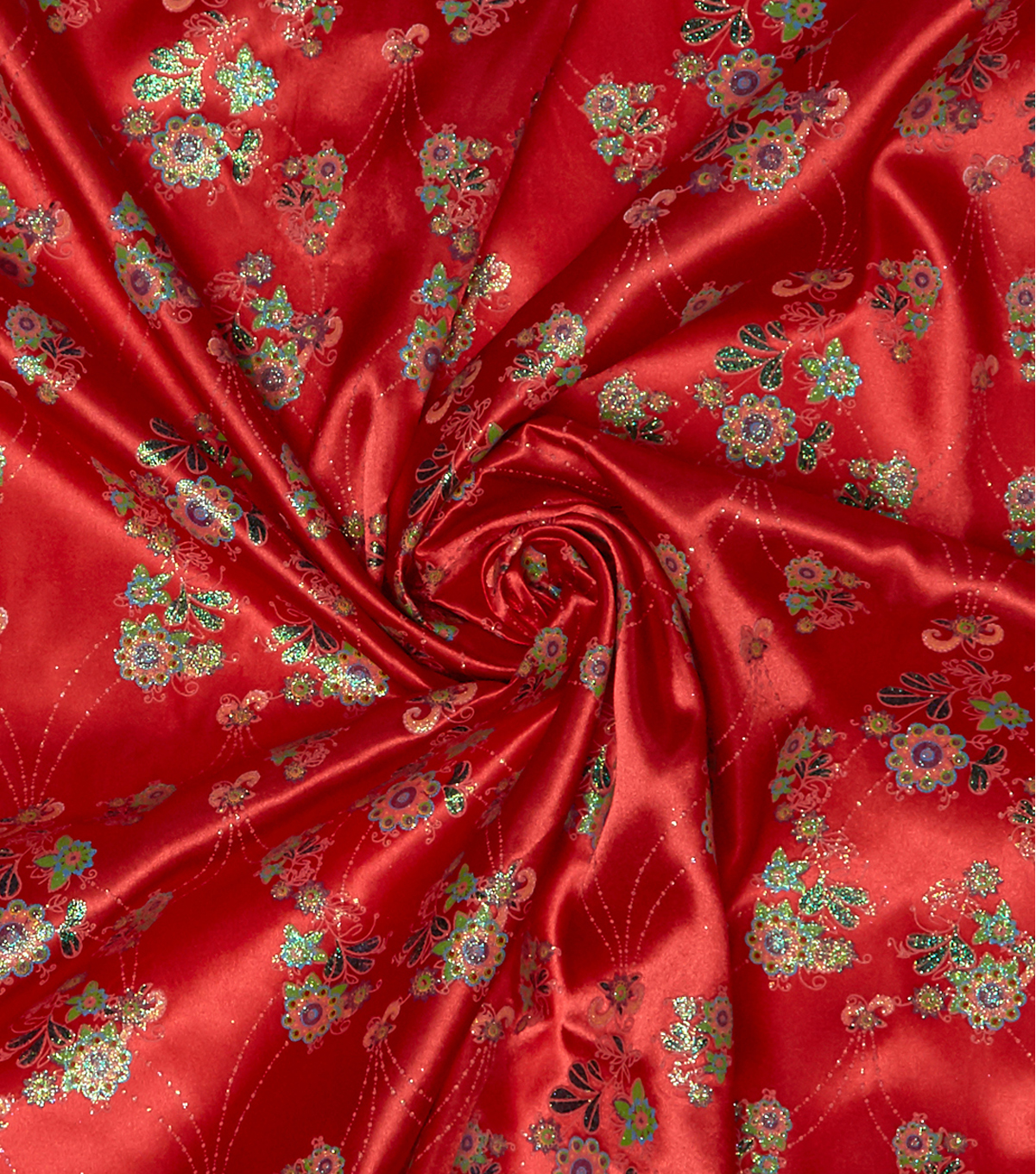 "Disney® Elena of Avalor Satin Fabric 58""-Red Glitter Floral"