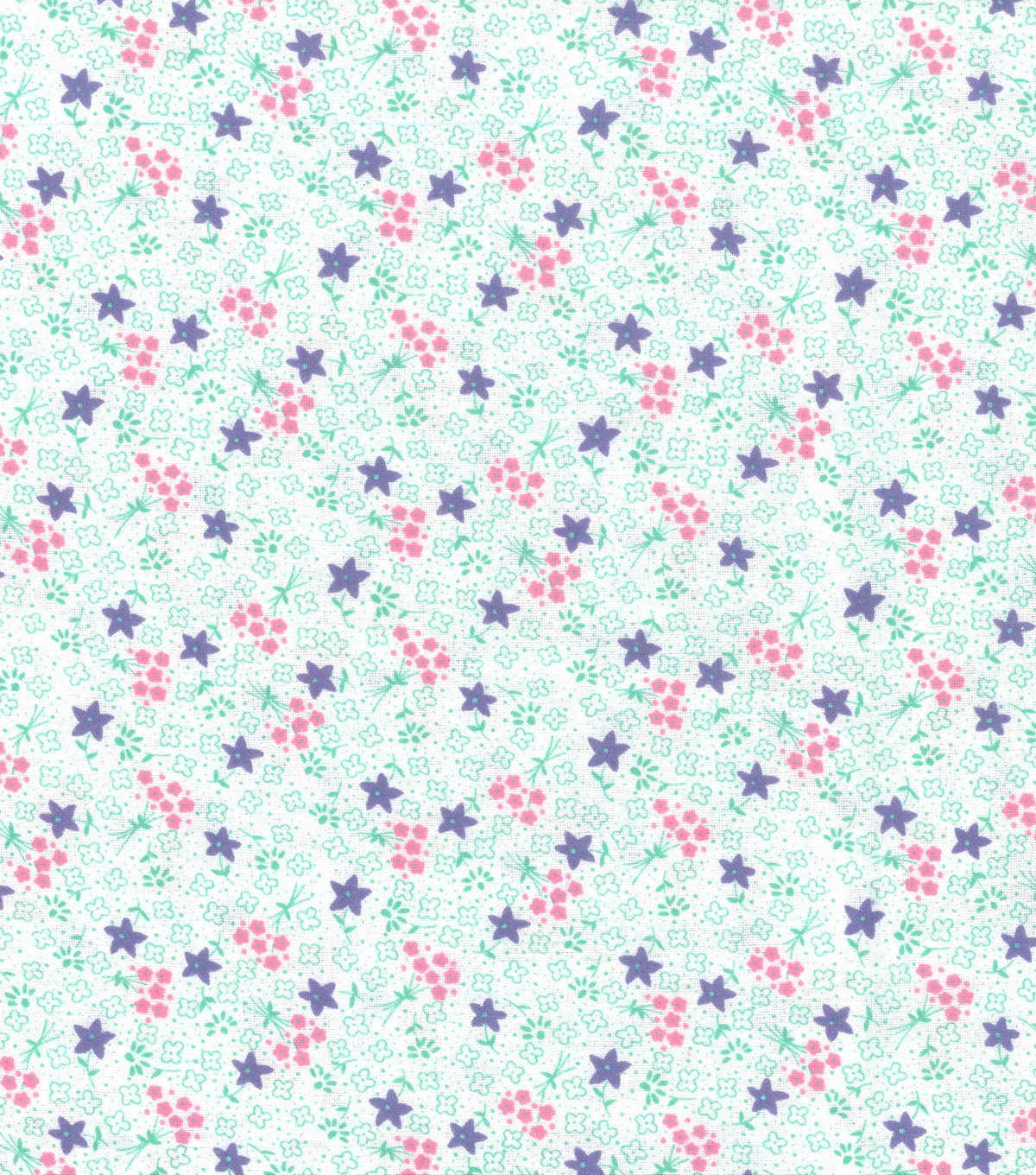 Wide Flannel Fabric 108\u0022-Purple Mint Ditsy