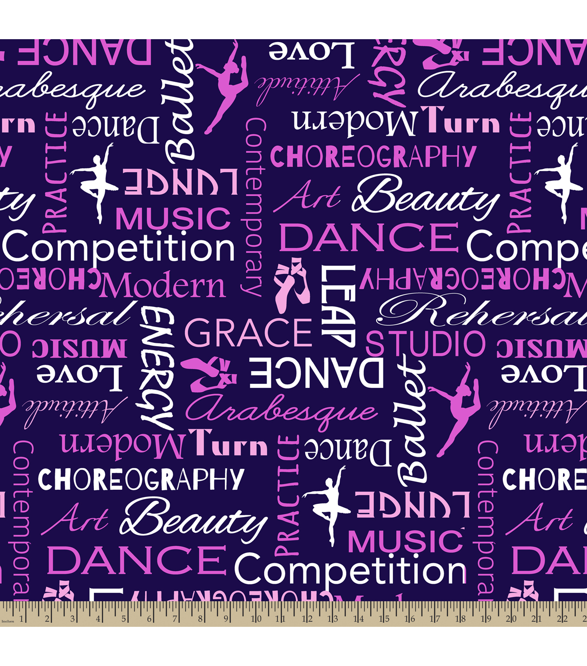 Blizzard Fleece Fabric 59\u0022-Dance Words