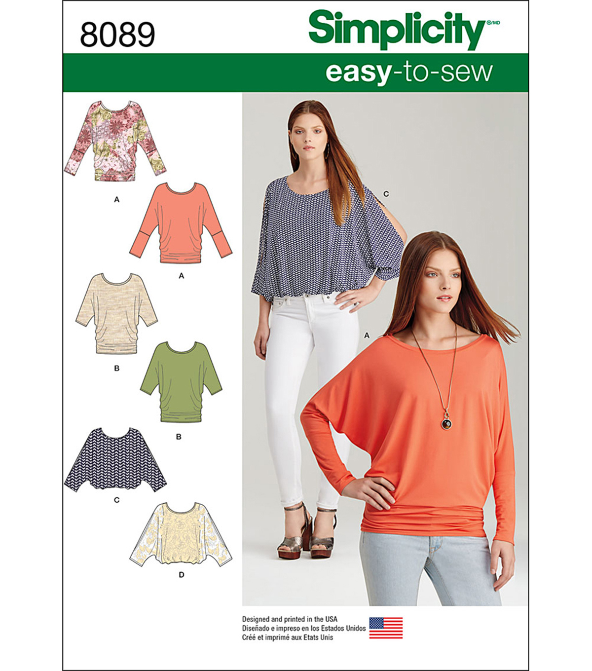 Simplicity Patterns US8089A Tops, Vest, Jkts, Coats-Xxs-Xs-S-M-L-Xl-Xxl