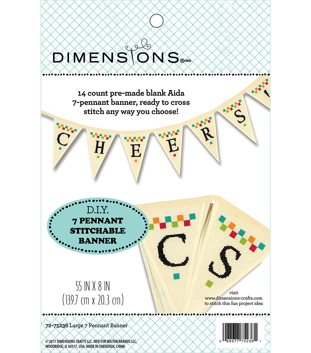 Dimensions® 55'' x 8'' DIY Pennant Stitchable Banner