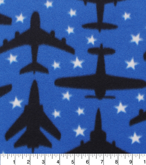 Blizzard Fleece Fabric 59\u0022-Airplanes In The Stars