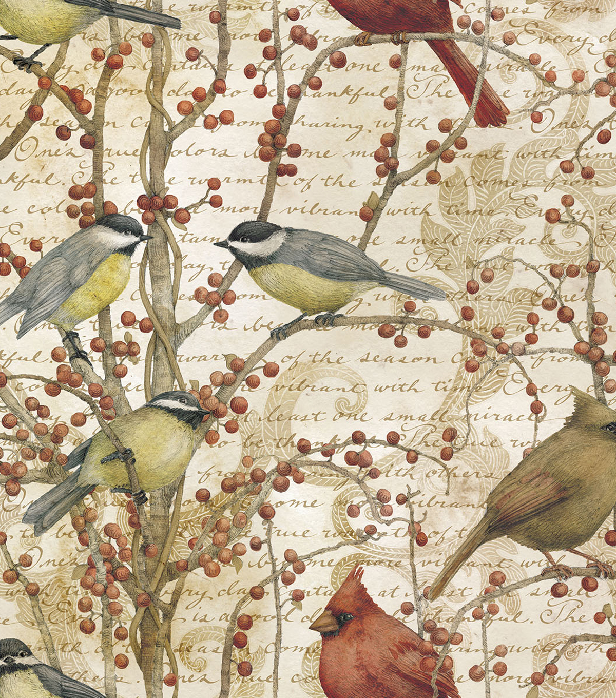 Legacy Studio™ Cotton Fabric 43\u0022-Winter Bird Vine