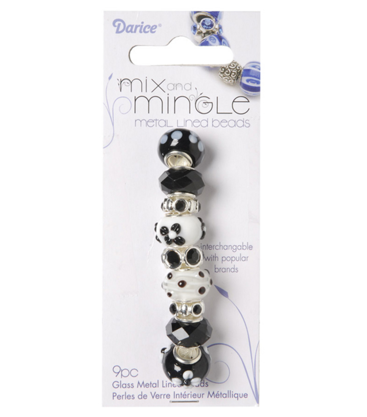 Mix and Mingle Glass Metal Lined Beads-Black/White