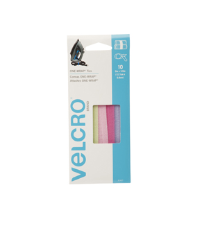 VELCRO® Brand ONE-WRAP® Ties  5in x 1/4in, multi color, 10ct