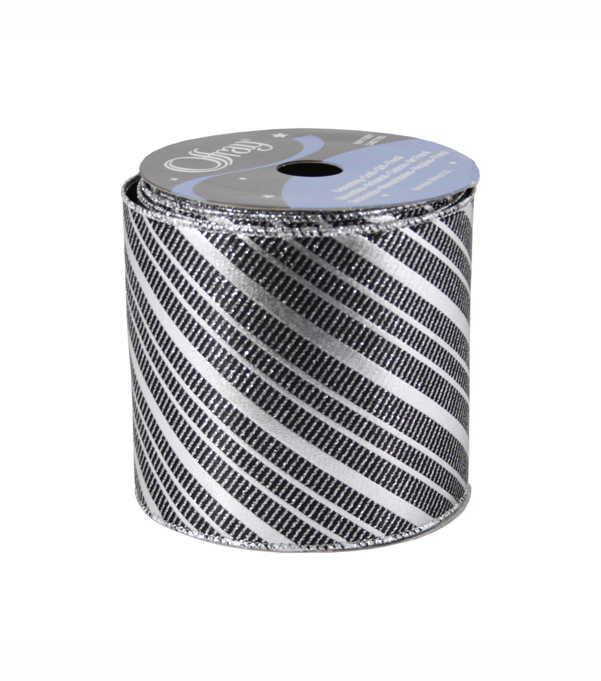 "Offray Wired Met Diagnol Stripe Luxury Ribbon 4"" x 5 Yards"