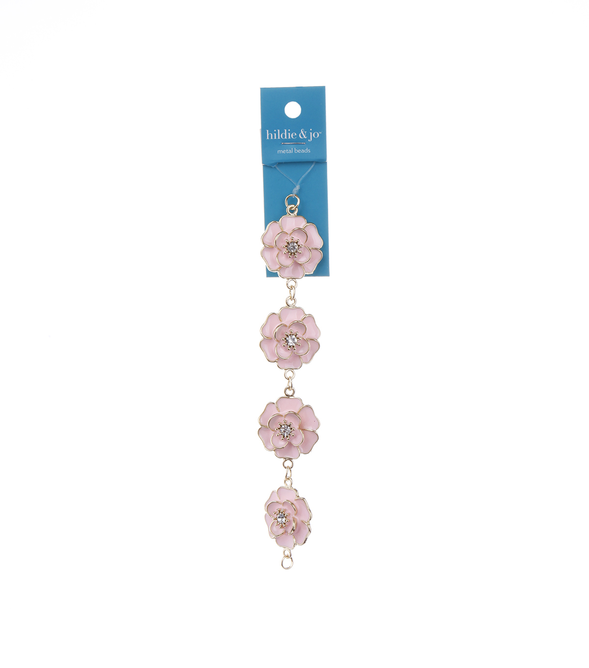 Bliss Beads Pink Metal Flowers