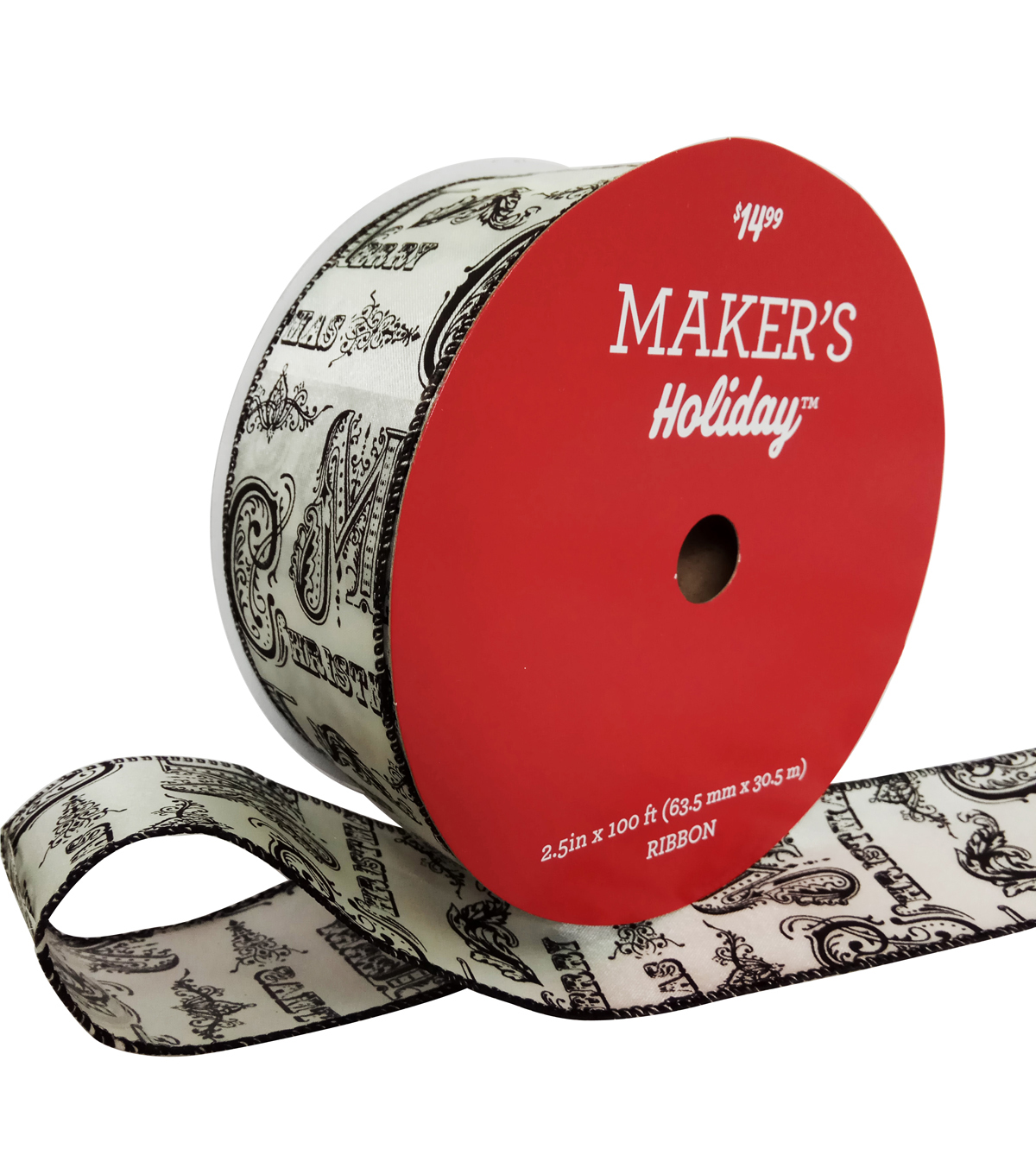 Maker\u0027s Holiday Christmas Value Ribbon 2.5\u0027\u0027x100\u0027-Black Vintage Print