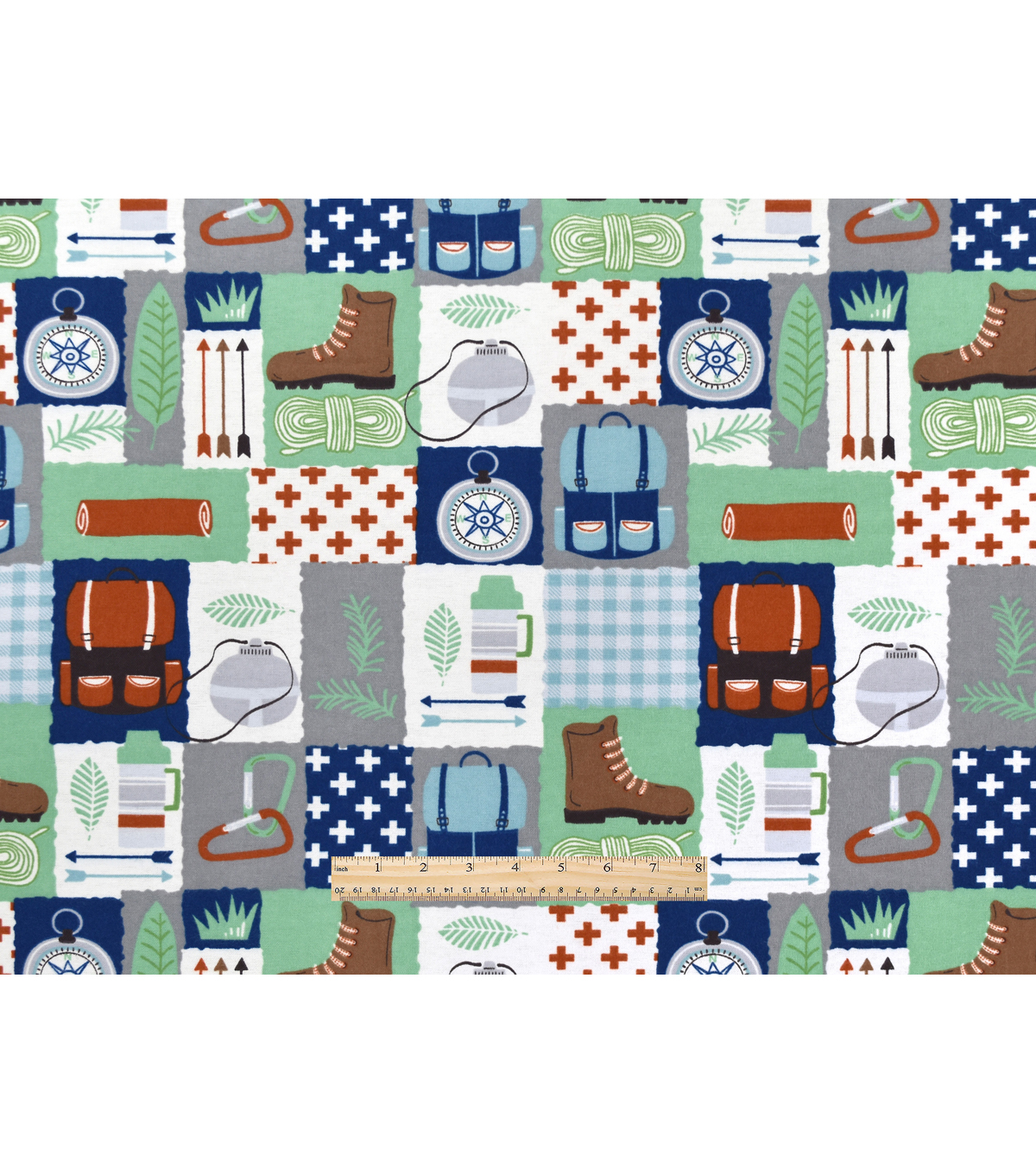 Snuggle Flannel Fabric 42\u0022-Camping Patch