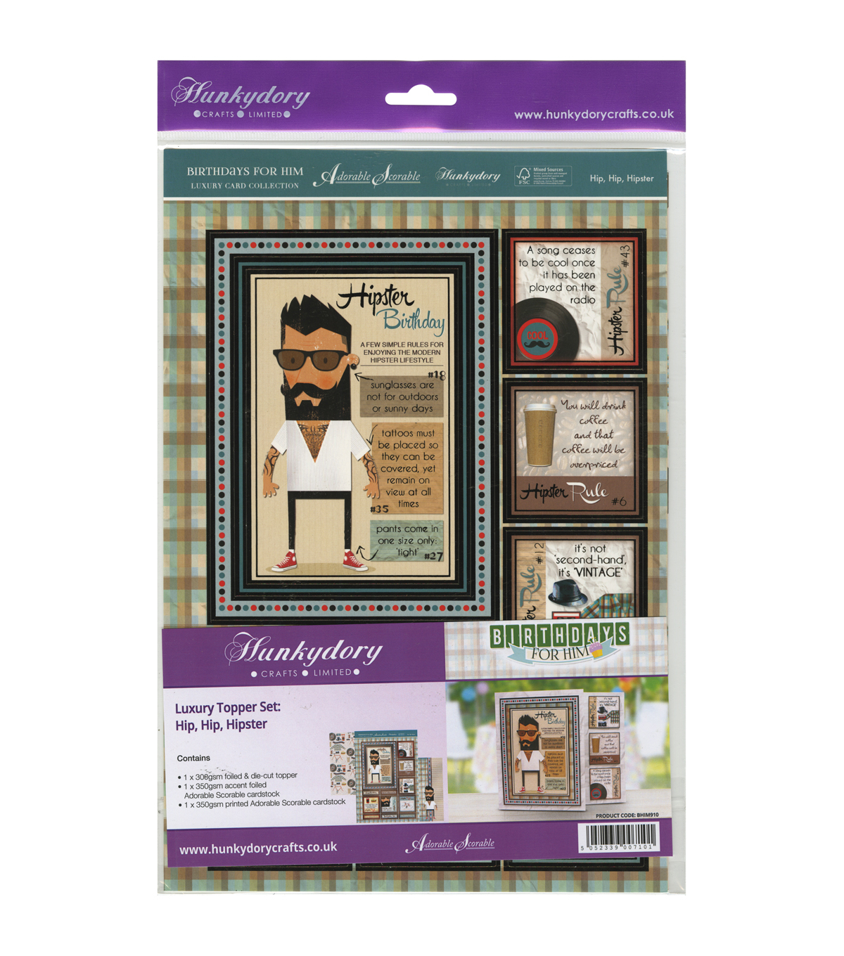 Hunkydory Crafts Birthdays For Him Luxury Topper Set A4-Hip, Hip Hipster