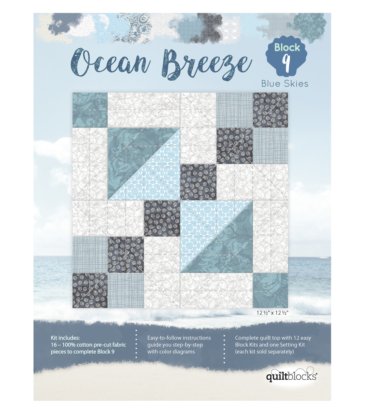 Quilt Block Ocean Breeze 16-Pieces Block 9 Kit-Blue Skies
